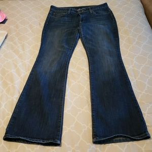 Low rise, flare jeans